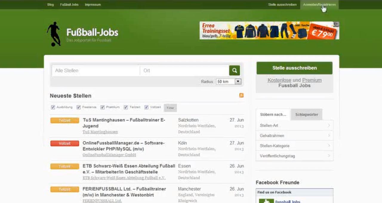 Fußball Jobs: Aufbau, Vermarktung und Verkauf des Fußball Online Projekts